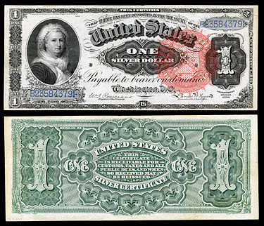 Series of 1886 $1 Silver Certificate featuring Martha Washington US-$1-SC-1886-Fr-217.jpg