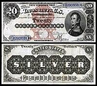 Certificado de prata de $ 20, série 1880, Fr.311, representando Stephen Decatur