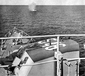 USS Brown (DD-546) - Brown under fire from North Korean shore batteries, 1951.
