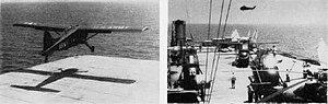 USS Corregidor - U.S. Army aircraft lift off Corregidor off Lebanon, 1958.
