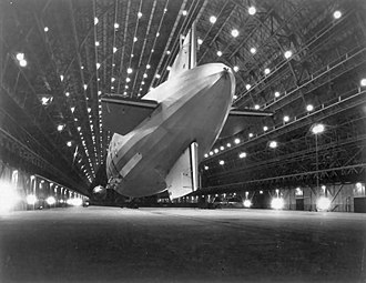 USS Macon (ZRS-5) - Macon moored in Hangar One at NAS Moffett Field in 1933