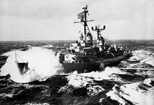 USS Richard S. Edwards (DD-950) in heavy seas c1960