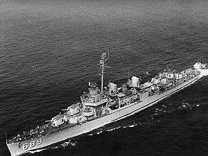 USS Wadleigh (DD-689) underway, circa in 1951 (NH 98907)
