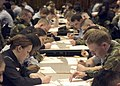 US Navy 050310-N-5686B-003 Third Class Petty Officers, assigned to Commander, Fleet Activities Yokosuka, Japan and other Yokosuka-area commands, prepare their answer sheets prior to the start of the Navy-wide Second Class Advan.jpg
