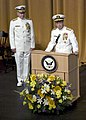 US Navy 050722-N-0295M-015 Adm. Mike Mullen reads his official orders as Adm. Vern Clark looks on during the Chief of Naval Operations change of command ceremony.jpg
