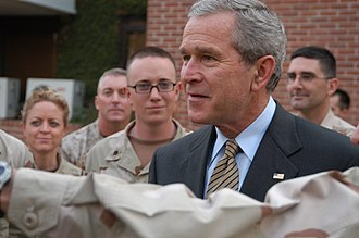 Pakistan–United States military relations - Image: US Navy 060304 N 7024W 005 .S. President George W. Bush spends time with American troops at the U.S. Embassy in Islamabad
