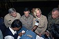 US Navy 071129-N-5642P-095 Commander Task Force 76, Rear Adm. Carol Pottenger gives an interview to distinguished visitors, and international media on the unique capabilities that Kearsarge brings to the Bangladesh Humanitarian.jpg