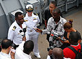 US Navy 080107-N-4044H-052 Capt. Paul Biving Nziengui, chief of the Gabonese National Navy, speaks to national media aboard Africa Partnership Station (APS) dock landing ship USS Fort McHenry (LSD 43).jpg