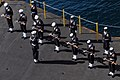US Navy 080211-N-0640K-002 The color-guard aboard the Nimitz-class aircraft carrier USS Ronald Reagan (CVN 76) participates in a burial-at-sea ceremony for nine military veterans.jpg