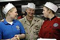 US Navy 090913-N-9818V-339 Master Chief Petty Officer of the Navy (MCPON) Rick West speaks with Sailors in the galley of the aircraft carrier USS Ronald Reagan (CVN 76) during a tour of the ship.jpg