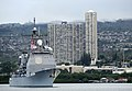 US Navy 091207-N-7498L-241 The guided-missile cruiser USS Lake Erie (CG 70) prepares to render honors to the Arizona Memorial during the Pearl Harbor day commemoration.jpg