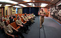 US Navy 100201-N-4482V-017 Rear Adm. Joseph Kilkenny, commander of Naval Education and Training Command, discusses how training affects the maritime strategy during an all-hands call.jpg