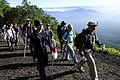 US Navy 100807-N-8335D-113 Dan Knight, a guide with the Fleet Activities Sasebo Sailing and Outdoor Adventure Center, leads a group of Sailors up Mount Fuji.jpg