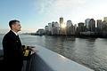 US Navy 110911-N-PR310-001 Cmdr. William Herrmann, commanding officer of the amphibious transport dock ship USS New York (LPD 21) looks towards the.jpg