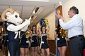 US Navy 111209-N-PM781-006 Secretary of Defense (SECDEF) Leon Panetta is greeted by Bill the Goat, the U.S. Naval Academy mascot, the Naval Academy.jpg