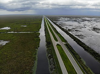 U.S. Route 27 - An aerial shot of  US 27 North near the Everglades.