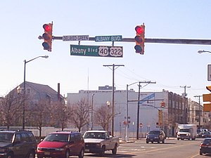 U.S. Route 40 in New Jersey - Overhead sign for US 40/US 322 in Atlantic City