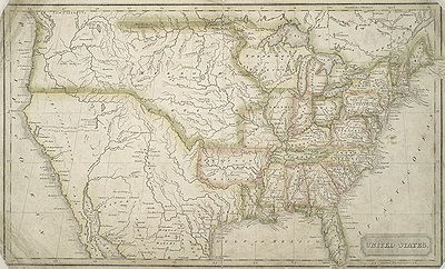 Map Of The U States Ca 1824 Geography By Morse Engraving By Annin Smith
