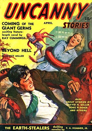 Uncanny Stories (magazine) - Cover of the only issue of Uncanny Stories, dated April 194; art by Norman Saunders