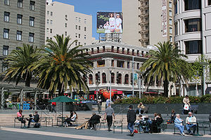 People relaxing in the square in 2007
