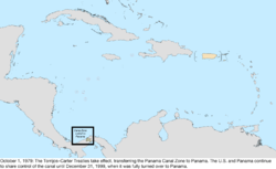 Map of the change to the United States in the Caribbean Sea on October 1, 1979