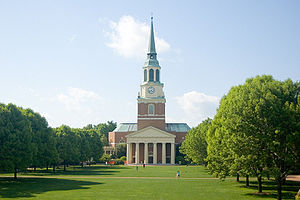 Wake Forest University - Wait Chapel located on the Hearn Plaza (or the 'Upper Quad').
