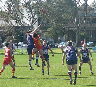 2008 Australian Football International Cup - Image: Usa china ruck contest