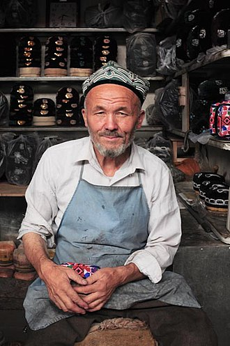 Taqiyah (cap) - A Uyghur cap maker in China.