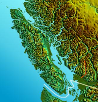Pitt River - Image: Vancouver Island relief Pitt River
