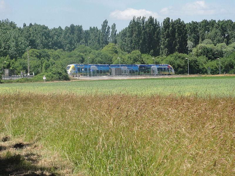 Variscourt (Aisne) gare d'Agilcourt-Variscourt un train TER Champagne-Ardennes sortant de la gare