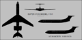 Vickers Super VC.10 (Moel 1151) three-view silhouette and VC.10 (Model 1102-1103) side-view silhouette.png