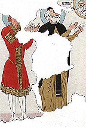 George II of Georgia - A fragment of the fresco from the Ateni Sioni Church, purportedly depicting George II as a monk after his abdication in 1089. Reproduction by Grigory Gagarin, 1847