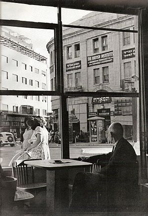 Zion Square - View of Zion Square through the windows of the Vienna Cafe, 1950.
