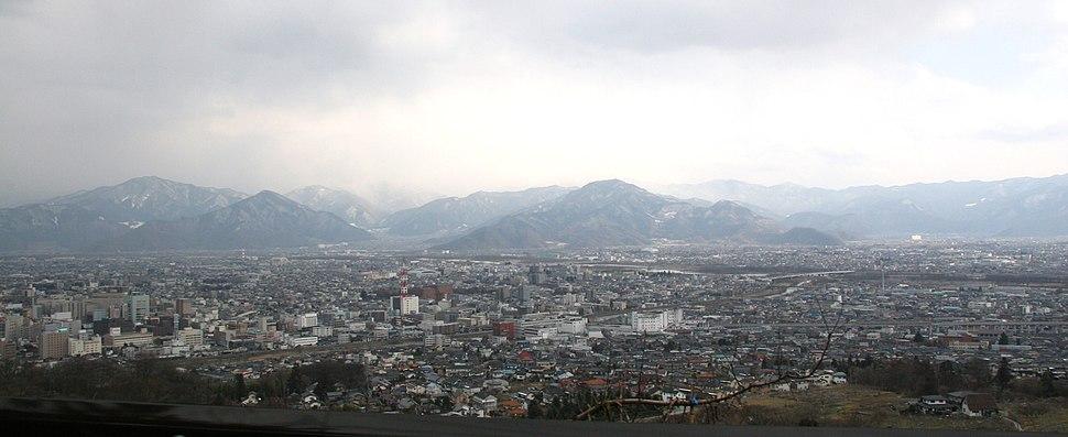 View of Nagano City from Mt. Asahiyama