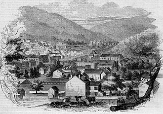Pottsville, Pennsylvania - View of Pottsville in 1854