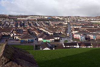 Battle of the Bogside - The Bogside in 2004, looking down from the city walls. The area has been greatly redeveloped since 1969, with the demolition of much of the old slum housing and the Rossville Street flats.