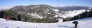 Arieșeni - View from Vârtop skiresort in Arieşeni, Romania over Vârtop Pass And Bihor Mountains