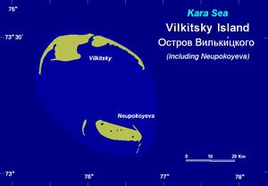 Vilkitsky Island (Kara Sea) - Map of Vilkitsky and Neupokoyeva Islands