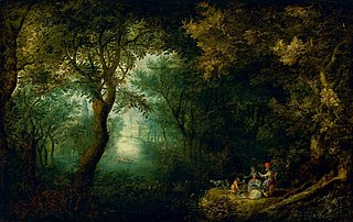 Park landscape with a company returning from the hunt (detail).