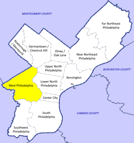 A map showing West Philadelphia in relation to the rest of the city.