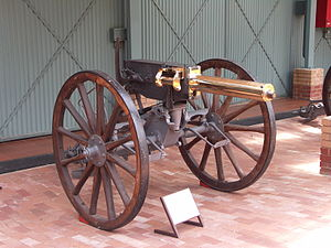 QF 1-pounder pom-pom - Gun 543 mounted on field gun carriage, South African National Museum of Military History (2007)