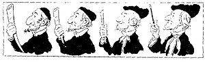 Wagner controversies - Caricature, entitled Darwinian Evolution, by T. Zajacskowski in the Viennese satirical magazine, Der Floh, c. 1875. The suggestion is that Wagner descends from the orthodox Jew (left) who is holding a shofar, while Wagner wields a baton.