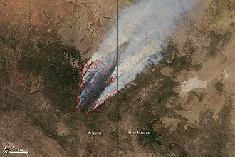 Wallow Fire - NASA satellite image, June 8, 2011, at 1:25 PM MDT
