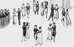 Waltz - Detail from frontispiece to Thomas Wilson's Correct Method of German and French Waltzing (1816), showing nine positions of the Waltz, clockwise from the left (the musicians are at far left). At that time, the waltz was a relatively new dance in England, and the fact that it was a couples dance (as opposed to the traditional group dances), and that the gentleman clasped his arm around the lady's waist, gave it a dubious moral status in the eyes of some.