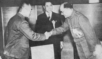 Reorganized National Government of the Republic of China - Wang Jingwei, Hideki Tojo and Subhas Chandra Bose in Tokyo (1943)