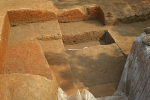 Wari-Bateshwar ruins - Soil layer covering a road system at Boteshwar excavation site.