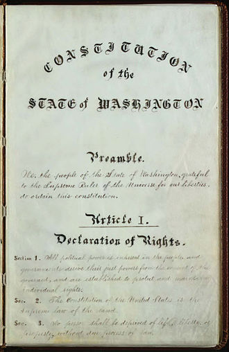 Constitution of Washington - Title page of the 1889 Constitution