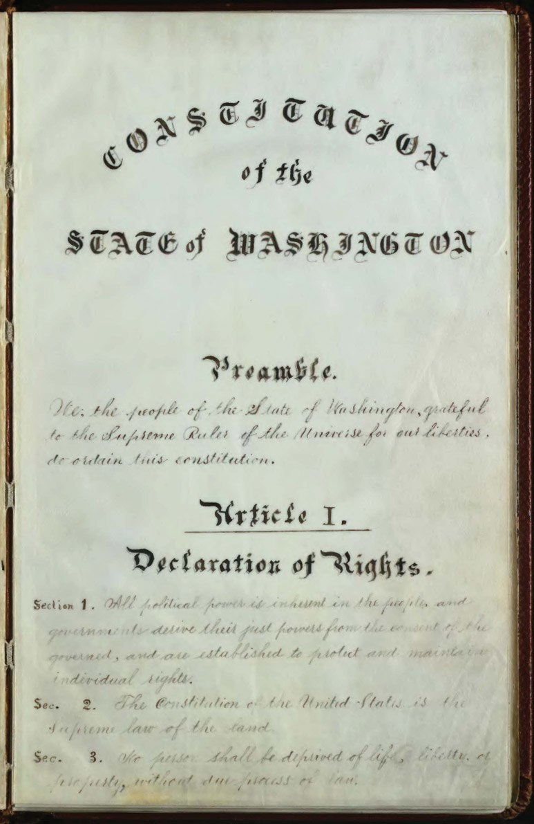 Washington Constitution 1889 p1