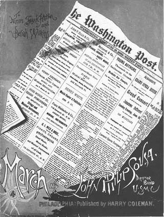 "The Washington Post (march) - Cover of the 1889 sheet music for ""The Washington Post March"""