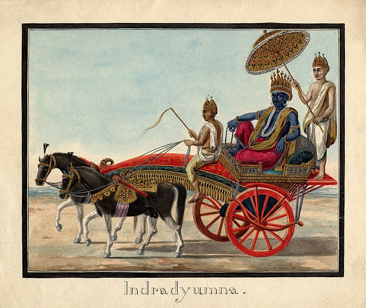 Watercolour painting on paper of Indradyumna seated in a carriage